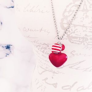 Jewelry - Silver Tone Red Heart Necklace